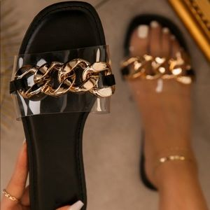 Sif Clear & Gold Chain Link Casual Sandals